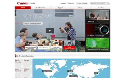 Screenshot of Home Page canon.com - Canon Global - captured Sept. 19, 2014