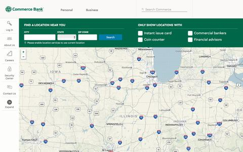 Screenshot of Locations Page commercebank.com - Location Finder | Commerce Bank - captured Oct. 7, 2019