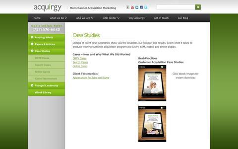 Screenshot of Case Studies Page acquirgy.com - Case Studies - captured Oct. 27, 2014