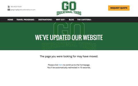 Screenshot of Testimonials Page goeducationaltours.com - Page not found! - captured Sept. 27, 2014