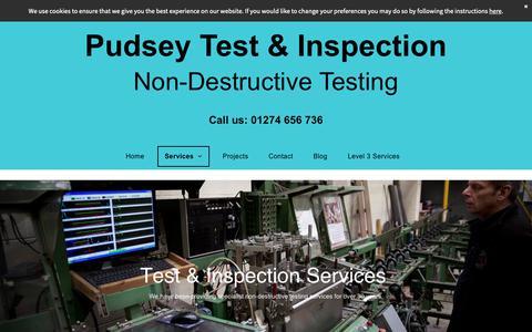 Screenshot of Services Page pudseytest.com - Test & inspection services based in Pudsey - captured Nov. 11, 2018