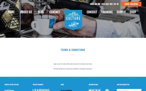 Screenshot of Terms Page coffeeculture.ie - Terms & Conditions - Coffee Culture - captured May 19, 2017