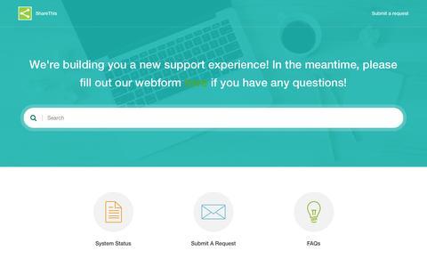 Screenshot of Support Page sharethis.com - ShareThis - captured July 20, 2016