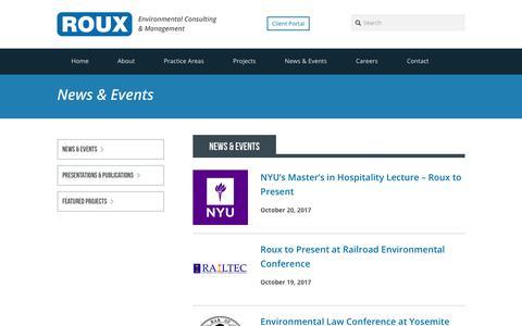 Screenshot of Press Page rouxinc.com - Roux Associates' News   Roux - captured Oct. 23, 2017