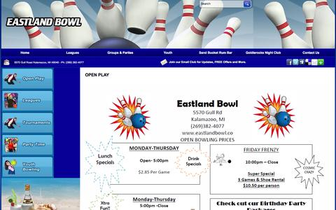 Screenshot of Hours Page eastlandbowl.co captured Dec. 29, 2016