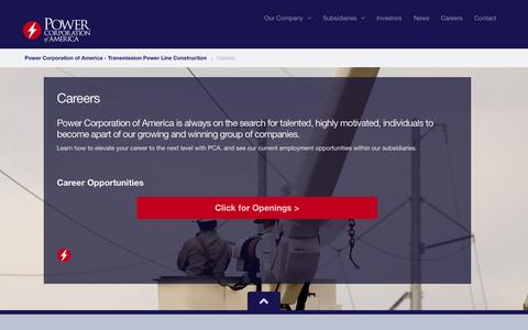 Screenshot of Jobs Page pcapower.com - Power Corporation of America | Careers | Power Corporation of America - Transmission Power Line Construction - captured Oct. 1, 2014