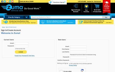 Screenshot of Login Page zumaoffice.com - Sign In/Create Account - Zuma - captured June 9, 2019