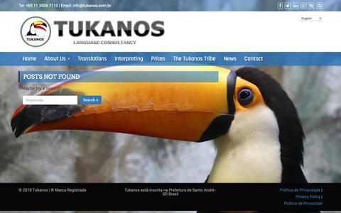 Screenshot of Contact Page tukanos.com.br - tukanos translation interpreting brazil portuguese english spanish - captured Oct. 18, 2018