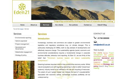 Screenshot of Services Page eden21.co.uk - Our services | Eden 21 Environmental Consultancy - captured Oct. 1, 2014