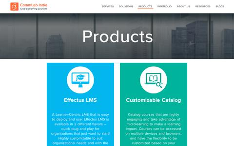 Screenshot of Products Page commlabindia.com - E-learning Products – CommLab India - captured July 20, 2018