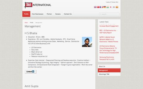 Screenshot of Team Page taminternational.in - Management - captured Oct. 7, 2014