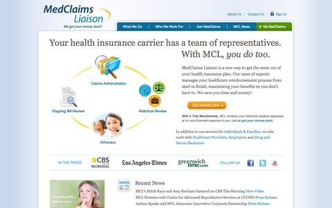 Screenshot of Home Page About Page Contact Page FAQ Page Case Studies Page Login Page Terms Page medclaimsliaison.com - MedClaims - captured Oct. 6, 2014