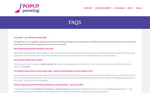 Screenshot of FAQ Page popuppainting.com - FAQs - PopUp Painting - captured June 23, 2019