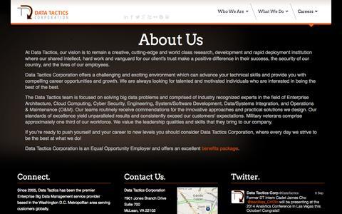 Screenshot of About Page data-tactics.com - About Us - Data Tactics Corporation - captured Sept. 19, 2014