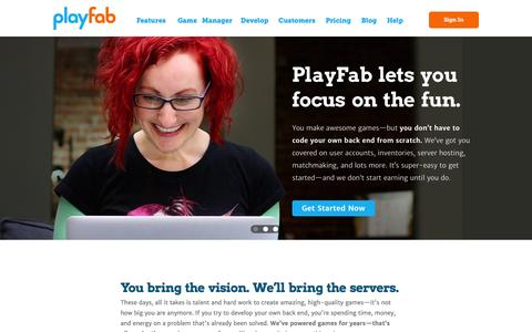 Screenshot of Home Page playfab.com - PlayFab - captured Jan. 23, 2015