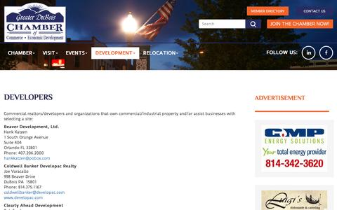 Screenshot of Developers Page duboispachamber.com - Greater DuBois, PA Chamber of Commerce & Economic Development: Greater DuBois, PA Chamber of Commerce & Economic Development: Developers - captured Nov. 13, 2016