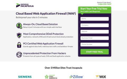 Screenshot of Landing Page incapsula.com - Cloud Web Application Firewall and Website Firewall WAF by Imperva Incapsula - captured April 4, 2017