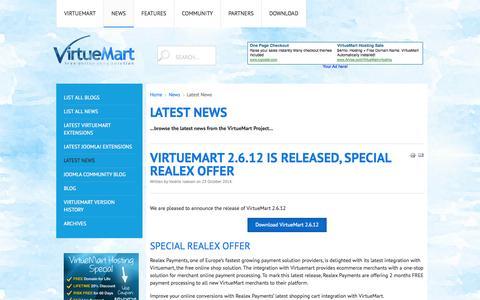 Screenshot of Press Page virtuemart.net - Latest News - captured Oct. 29, 2014