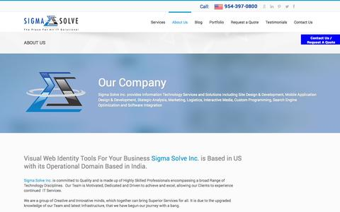 Screenshot of About Page sigmasolve.net - Our Company | Sigma Solve Inc. - captured Oct. 26, 2014
