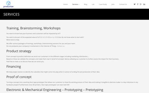 Screenshot of Services Page productize.be - Services | Productize - captured Sept. 30, 2014