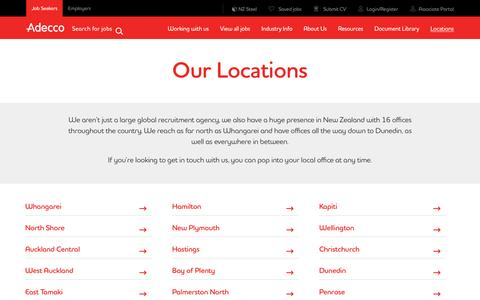 Screenshot of Contact Page Locations Page adecco.co.nz - Our Locations  | Adecco NZ - captured Nov. 20, 2016