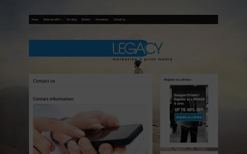 Screenshot of Contact Page legacybiz.co.za - Printing Company Contact Details Johannesburg: Printing Company - captured Sept. 25, 2014
