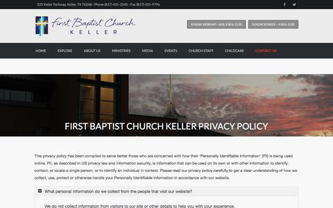 Screenshot of Privacy Page fbckeller.org - First Baptist Church Keller Privacy Policy | First Baptist Church Keller - captured Feb. 5, 2018