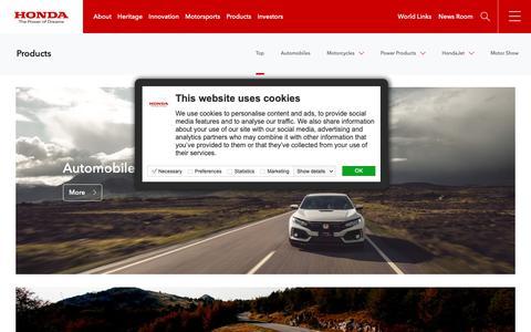 Screenshot of Products Page global.honda - Honda Global   Products - captured Nov. 3, 2018