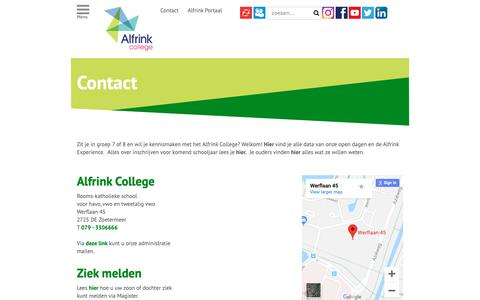Screenshot of Contact Page alfrink.nl - Contact | Alfrink college - captured Nov. 12, 2018