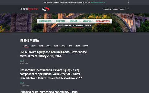 Screenshot of Press Page capdyn.com - / Media & Events In the Media - captured July 13, 2017