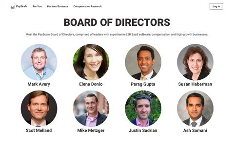Screenshot of Team Page payscale.com - PayScale Board of Directors | PayScale About - captured Oct. 26, 2018