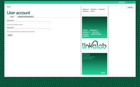 Screenshot of Login Page linkalab.it - User account | Linkalab - captured Sept. 30, 2014