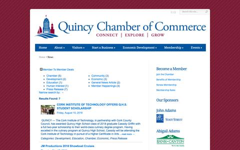 Screenshot of Press Page thequincychamber.com - News - Quincy Chamber of Commerce - captured Sept. 30, 2018