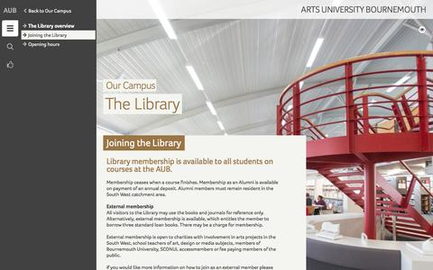 Screenshot of Signup Page aub.ac.uk - Joining the Library - Arts University Bournemouth - captured Jan. 20, 2016