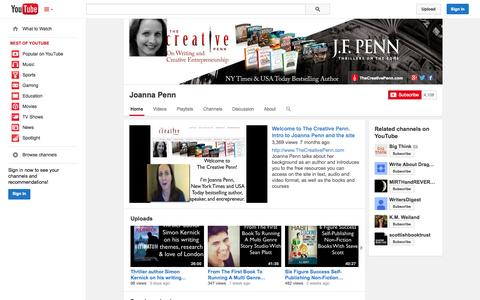 Screenshot of YouTube Page youtube.com - Joanna Penn  - YouTube - captured Oct. 29, 2014