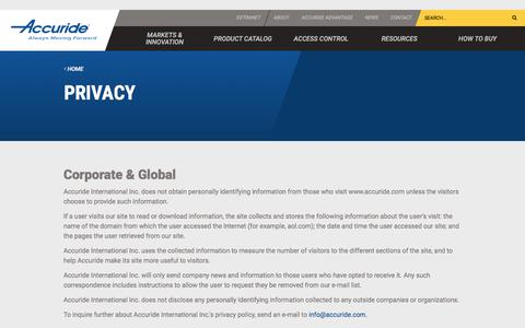 Screenshot of Privacy Page accuride.com - Privacy | Accuride International - captured Jan. 23, 2018