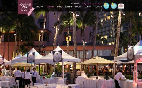 Screenshot of Services Page gourmeteventshawaii.com - Services - Hawaii Premier Catering & Event Planning - Gourmet Events Hawaii, Honolulu, Oahu - captured Oct. 1, 2014