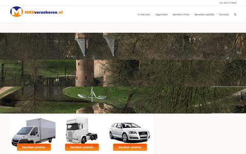 Screenshot of Home Page mkbverzekeren.nl - Amersfoort online verzekeringen MKB en ZZPer vergelijken online - captured Nov. 16, 2016