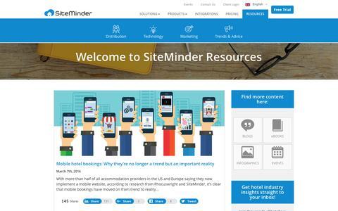 Screenshot of Blog siteminder.com - Resources - SiteMinder - captured March 10, 2016