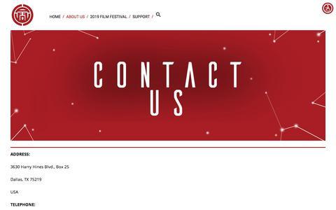 Screenshot of Contact Page asianfilmdallas.com - Contact Us — ASIAN FILM FESTIVAL OF DALLAS - captured Sept. 14, 2019