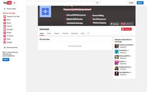 Screenshot of YouTube Page youtube.com - seoways  - YouTube - captured Oct. 23, 2014
