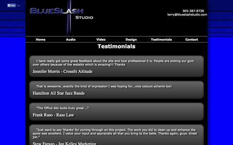 Screenshot of Testimonials Page blueslashstudio.com - BlueSlash Studio - Testimonials - captured Sept. 30, 2014