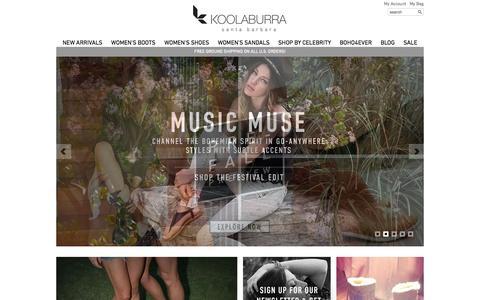 Screenshot of Home Page koolaburra.com - Koolaburra Santa Barbara - Official Site - captured Sept. 19, 2014