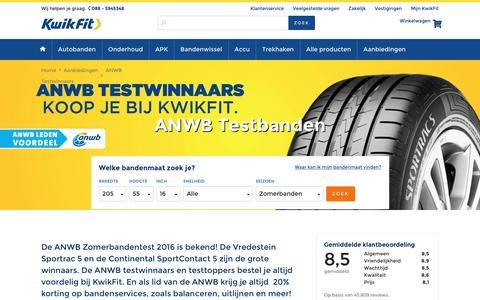 Screenshot of kwik-fit.nl - ANWB testbanden met ANWB Ledenvoordeel - captured April 14, 2016