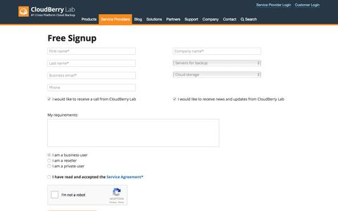 Screenshot of Signup Page cloudberrylab.com - CloudBerry Managed Backup Service Sign-Up Form - captured May 18, 2017