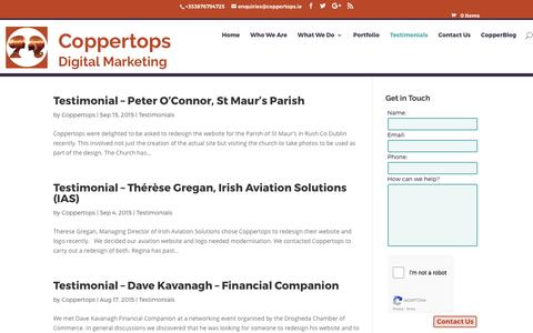 Screenshot of Testimonials Page coppertops.ie - Testimonials Archives - Coppertops - captured May 22, 2017