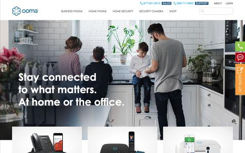 Screenshot of Home Page ooma.com - VoIP Phone and Security Systems for Home and Business | Ooma - captured July 12, 2018