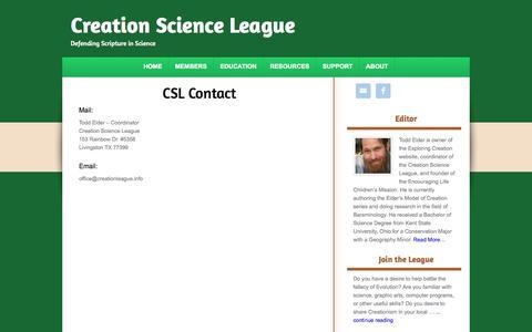 Screenshot of Contact Page creationleague.info - CSL Contact - captured Oct. 3, 2014
