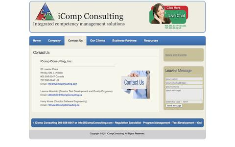 Screenshot of Contact Page icompconsulting.com - Contact Us - captured Oct. 6, 2014