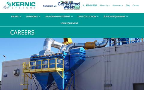 Screenshot of Jobs Page kernicsystems.com - Careers | Kernic Systems | Industrial Machinery Installer - captured Sept. 20, 2018